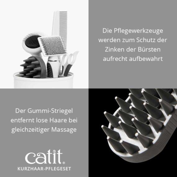 Catit Kurzhaar-Pflegeset - Die Pflegewerkzeuge werden zum Schutz der Zinken der Bürsten aufrecht aufbewahrt und der Gummi-Striegel entfernt lose Haare bei gleichzeitiger Massage