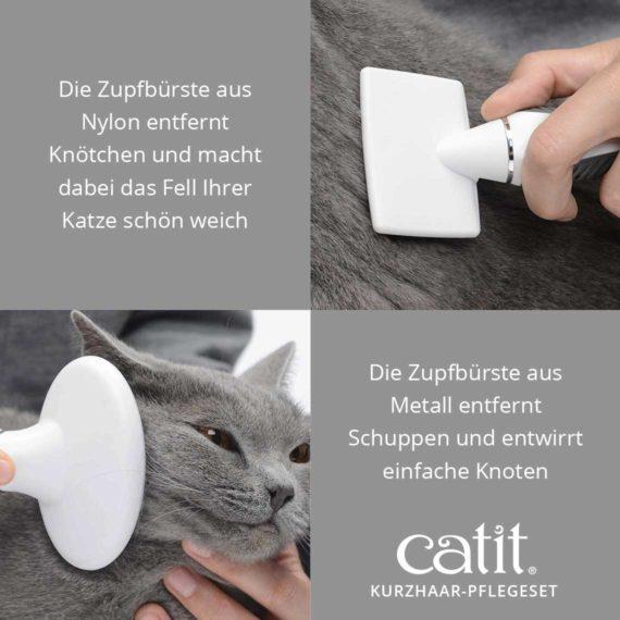 Catit Kurzhaar-Pflegeset - Die Zupfbürste aus Nylon entfernt Knötchen und macht dabei das Fell Ihrer Katze schön weich und die Zupfbürste aus Metall entfernt Schuppen und entwirrt einfache Knoten