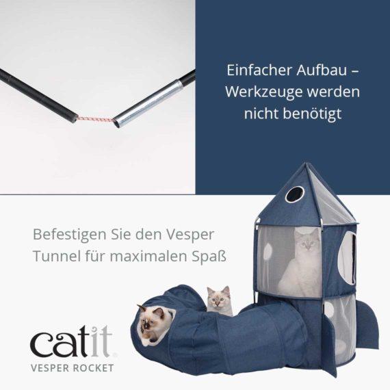 Catit Vesper Rocket - Einfacher Aufbau – Werkzeuge werden nicht benötigt und befestigen Sie denVesper Tunnelfür maximalen Spaß