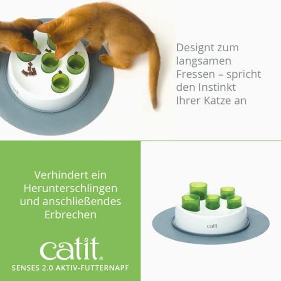 Catit Senses 2.0 Aktiv-Futternapf - Designt zum langsamen Fressen – spricht den Instinkt Ihrer Katze an und verhindert ein Herunterschlingen und anschließendes Erbrechen