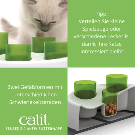 Catit Senses 2.0 Aktiv-Futternapf - Tipp: Verteilen Sie kleine Spielzeuge oder verschiedene Leckerlis, damit Ihre Katze interessiert bleibt und zwei Gefäßformen mit unterschiedlichen Schwierigkeitsgraden