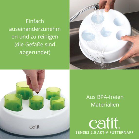 Catit Senses 2.0 Aktiv-Futternapf - Einfach auseinanderzunehmen und zu reinigen (die Gefäße sind abgerundet) und aus BPA-freien Materialien