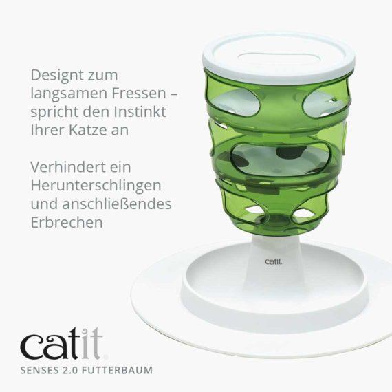 Catit Senses 2.0 Futterbaum - Designt zum langsamen Fressen – spricht den Instinkt Ihrer Katze an und verhindert ein Herunterschlingen und anschließendes Erbrechen