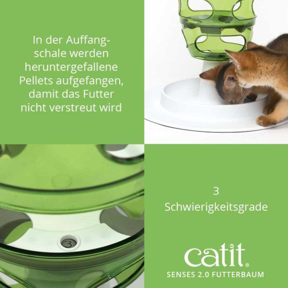 Catit Senses 2.0 Futterbaum - 3 Schwierigkeitsgrade und in der Auffangschale werden heruntergefallene Pellets aufgefangen, damit das Futter nicht verstreut wird