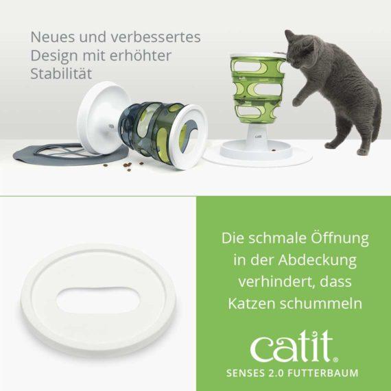 Catit Senses 2.0 Futterbaum - Neues und verbessertes Design mit erhöhter Stabilität und die schmale Öffnung in der Abdeckung verhindert, dass Katzen schummeln