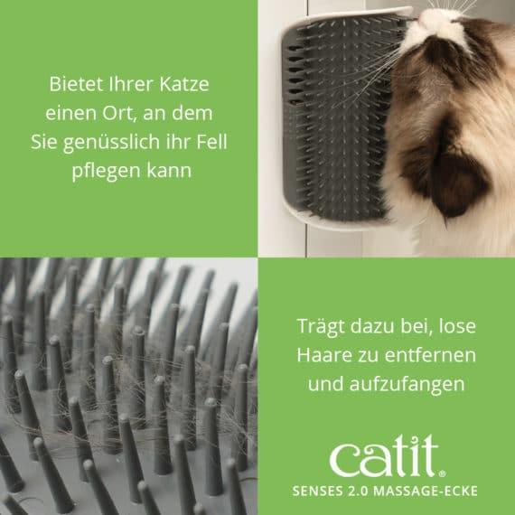 Catit Senses 2.0 Massage-Ecke - Bietet Ihrer Katze einen Ort, an dem Sie genüsslich ihr Fell pflegen kann und trägt dazu bei, lose Haare zu entfernen und aufzufangen