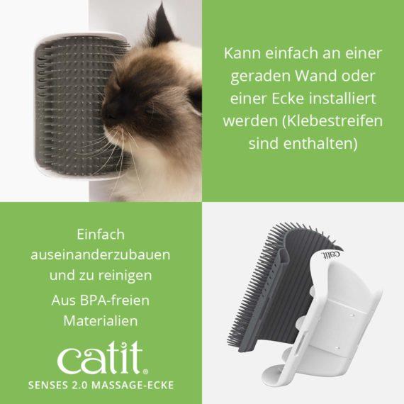 Catit Senses 2.0 Massage-Ecke - Kann einfach an einer geraden Wand oder einer Ecke installiert werden (Klebestreifen sind enthalten) und einfach auseinanderzubauen und zu reinigen und aus BPA-freien Materialien