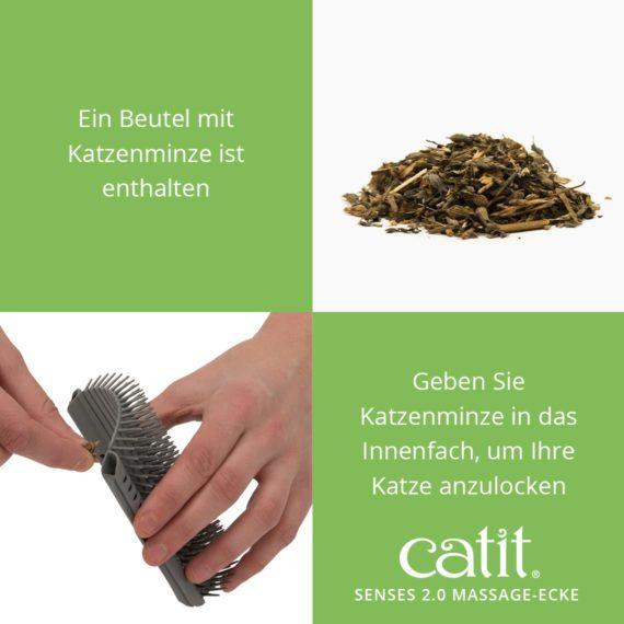 Catit Senses 2.0 Massage-Ecke - Ein Beutel mit Katzenminze ist enthalten und geben Sie Katzenminze in das Innenfach, um Ihre Katze anzulocken