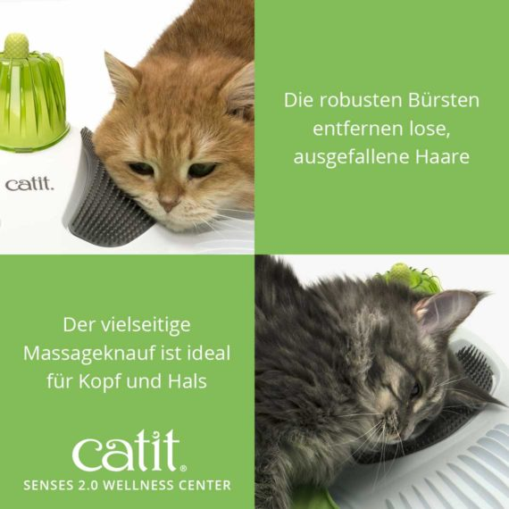Catit Senses 2.0 Wellness Center - Die robusten Bürsten entfernen lose, ausgefallene Haare und der vielseitige Massageknauf ist ideal für Kopf und Hals