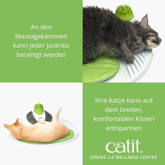 Catit Senses 2.0 Wellness Center - An den Massagekämmen kann jeder Juckreiz beseitigt werden und ihre Katze kann auf dem breiten, komfortablen Kissen entspannen