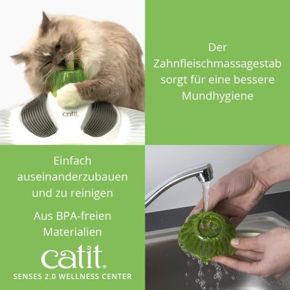 Catit Senses 2.0 Wellness Center - Der Zahnfleischmassagestab sorgt für eine bessere Mundhygiene und einfach auseinanderzubauen und zu reinigen und aus BPA-freien Materialien