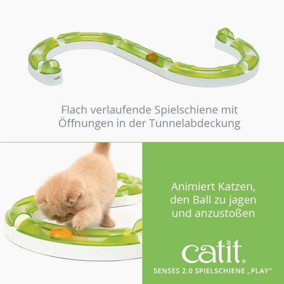 """Catit Spielschiene """"Play"""" - Flach verlaufende Spielschiene mit Öffnungen in der Tunnelabdeckung und animiert Katzen, den Ball zu jagen und anzustoßen"""