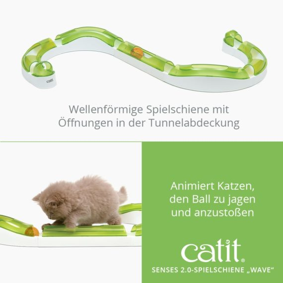 """Catit Senses 2.0-Spielschiene """"Wave"""" - Wellenförmige Spielschiene mit Öffnungen in der Tunnelabdeckung. Animiert Katzen, den Ball zu jagen und anzustoßen"""