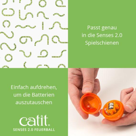 Catit Sense 2.0 Feuerball – Passt genau in dei Senses 2.0 Spielschienen und einfach aufdrehen, um die Batterien auszutauschen