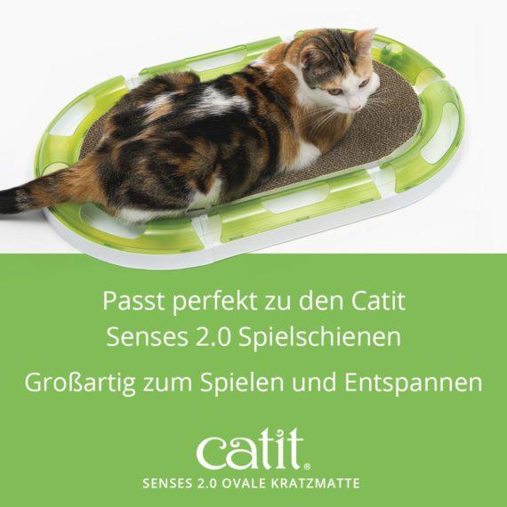 Catit Senses 2.0 Ovale Kratzmatte - Passt perfekt zu den Catit Senses 2.0 SpielschienenOvale Kratzmatte
