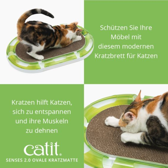 Catit Senses 2.0 Ovale Kratzmatte – Schützen Sie Ihre Möbel mit diesem modernen Kratzbrett für Katzen und kratzen hilft Katzen, sich zu entspannen und Ihre Muskeln zu dehnen