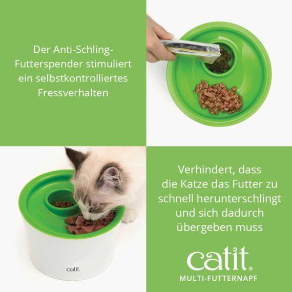 Catit Multi-Futternapf - Der Anti-Schling-Futterspender stimuliert ein selbstkontrolliertes Fressverhalten. Verhindert, dass die Katze das Futter zu schnell herunterschlingt und sich dadurch übergeben muss
