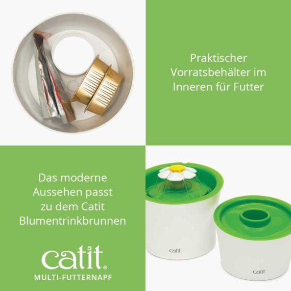 Catit Multi-Futternapf - Praktischer Vorratsbehälter im Inneren für Futter. Das moderne Aussehen passt zu dem Catit Blumentrinkbrunnen