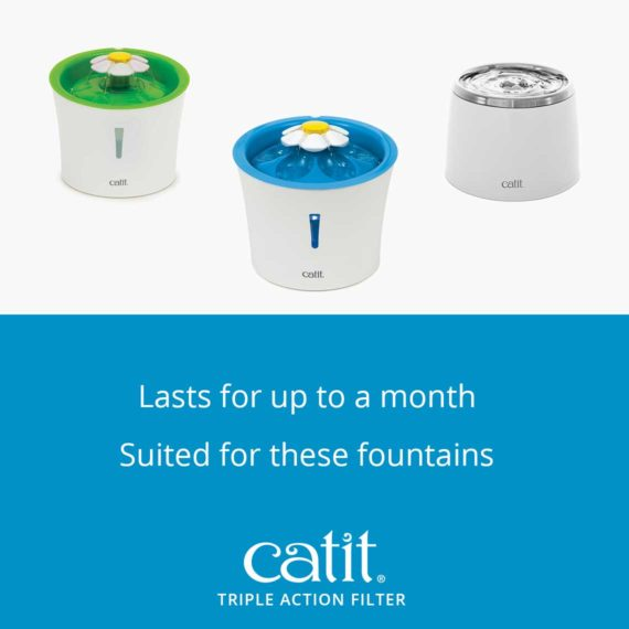 Catit Triple Action Filter lasts for up to a month and is suited for these fountains