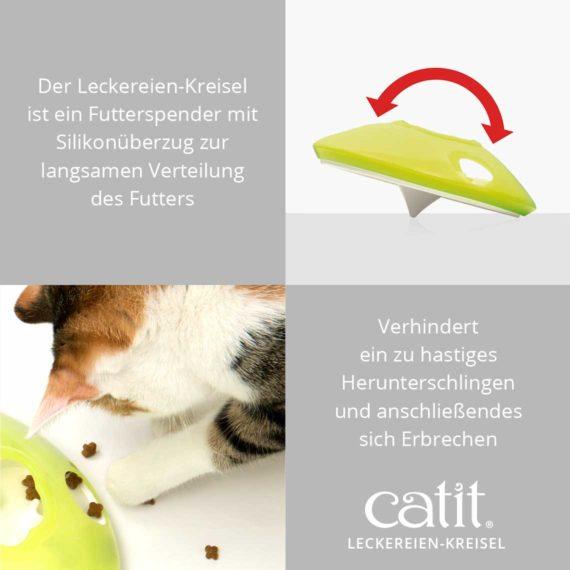 Catit Leckereien-Kreisel - Der Leckereien-Kreisel ist ein Futterspender mit Silikonüberzug zur langsamen Verteilung des Futters und verhindert ein zu hastiges Herunterschlingen und anschließendes sich Erbrechen