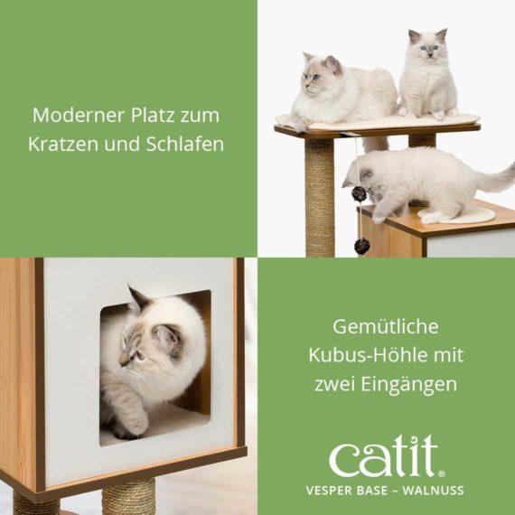Catit Vesper Base - Moderner Platz zum Kratzen und Schlafen und gemütliche Kubus-Höhle mit zwei Eingängen