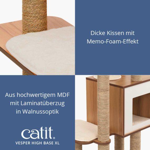 Catit Vesper High Base XL - Dicke Kissen mit Memo-Foam-Effekt und aus hochwertigem MDF mit Laminatüberzug in Walnussoptik