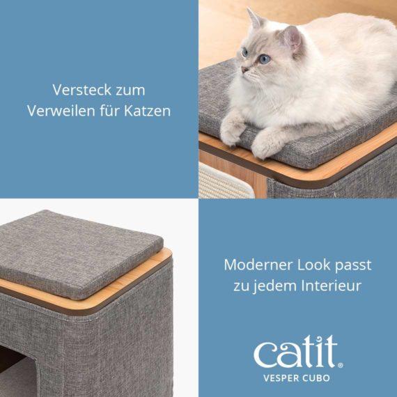 Catit Vesper Cubo - Versteck zum Verweilen für Katzen und moderner Look passt zu jedem Interieur