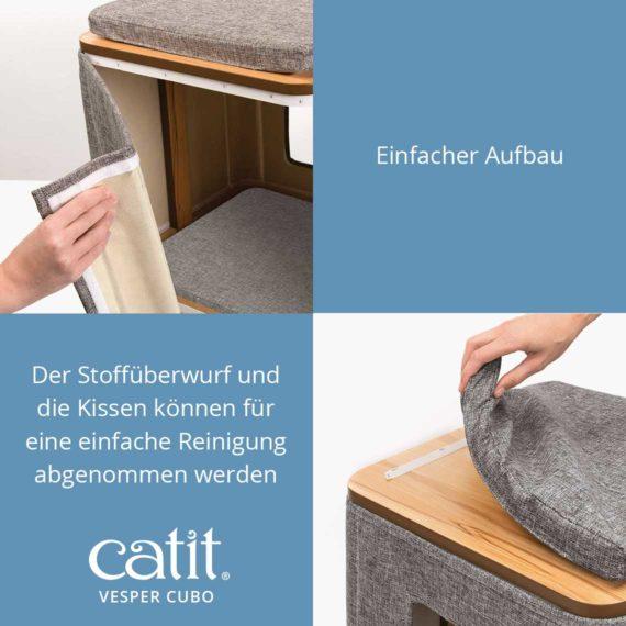 Catit Vesper Cubo - Einfacher Aufbau und Der Stoffüberwurf und die Kissen können für eine einfache Reinigung abgenommen warden