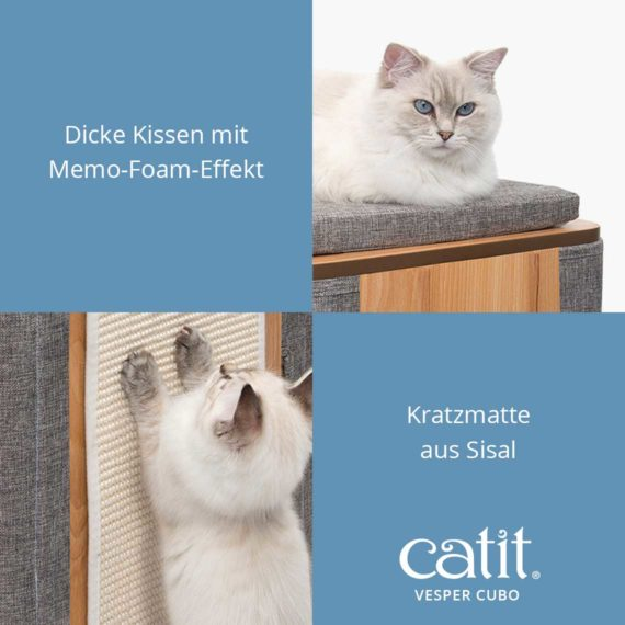 Catit Vesper Cubo - Dicke Kissen mit Memo-Foam-Effekt und Kratzmatte aus Sisal