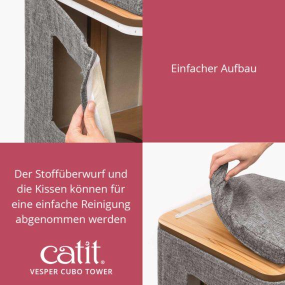 Catit Vesper Cubo Tower - Einfacher Aufbau und der Stoffüberwurf und die Kissen können für eine einfache Reinigung abgenommen werden