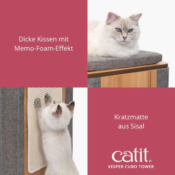 Catit Vesper Cubo Tower - Dicke Kissen mit Memo-Foam-Effekt und Kratzmatte aus Sisal