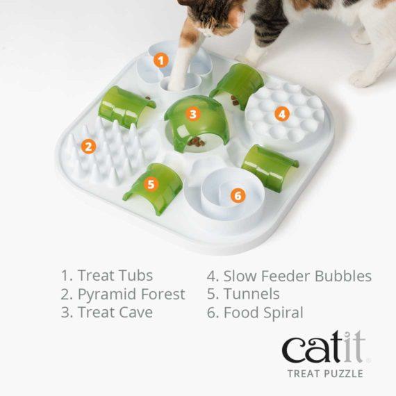 Catit Treat Puzzle has 6 fun activities