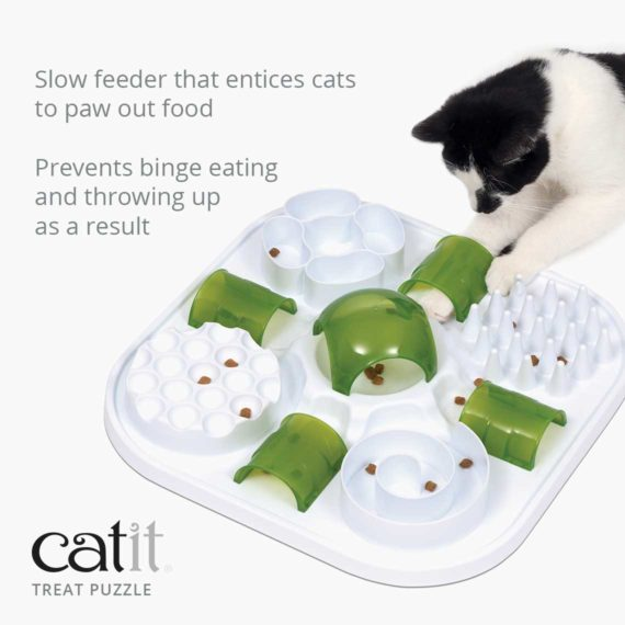 Catit Treat puzzle is a slow feeder that entices cats to paw out food an prevents binge eating and throwing up as a result