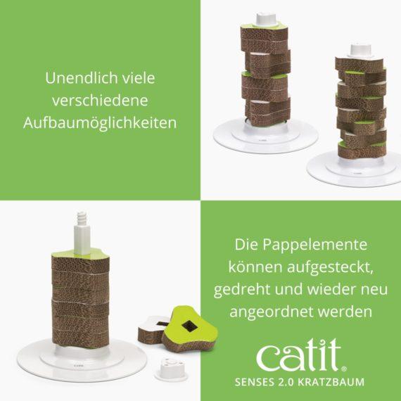 Catit Senses 2.0 Kratzbaum - Unendlich viele verschiedene Aufbaumöglichkeiten. Die Pappelemente können aufgesteckt, gedreht und wieder neu angeordnet warden