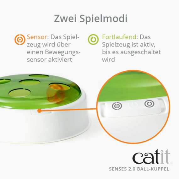 Catit Senses 2.0 Ball-Kuppel - Zwei Spielmodi. Sensor: Das Spielzeug wird über einen Bewegungssensor aktiviert. Fortlaufend: Das Spielzeug ist aktiv, bis es ausgeschaltet wird.