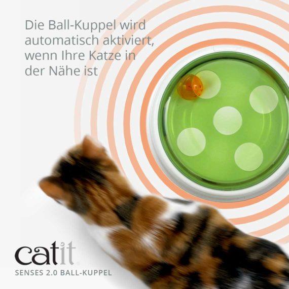 Catit Senses 2.0 Ball-Kuppel - Die Ball-Kuppel wird automatisch aktiviert, wenn Ihre Katze in der Nähe ist.