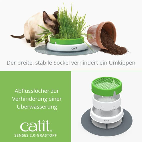 Catit Senses 2.0 Grastopf - Der breite, stabile Sockel verhindert ein Umkippen. Abflusslöcher zur Verhinderung einer Überwässerung