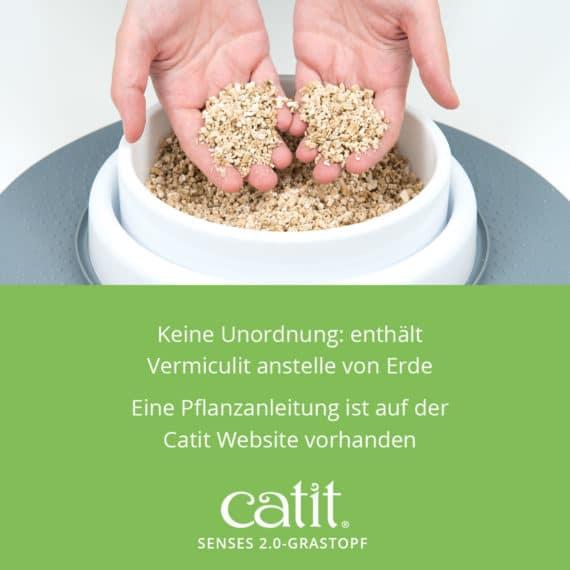 Catit Senses 2.0 Grastopf - Keine Unordnung: enthält Vermiculit anstelle von Erde. Eine Pflanzanleitung ist auf der Catit Website vorhanden