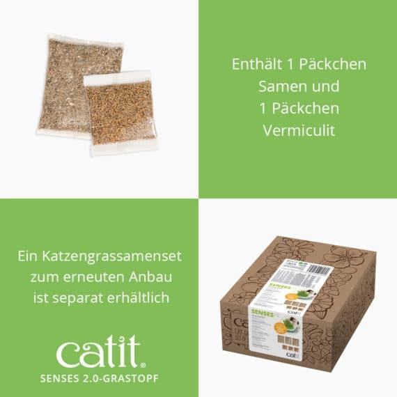 Catit Senses 2.0 Grastopf - Enthält 1 Päckchen Samen und 1 Päckchen Vermiculit. Ein Katzengrassamenset zum erneuten Anbau ist separat erhältlich