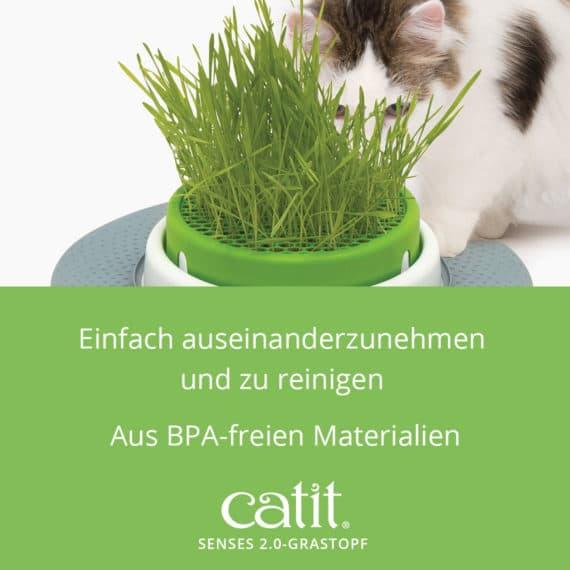 Catit Senses 2.0 Grastopf - Einfach auseinanderzunehmen und zu reinigen. Aus BPA-freien Materialien