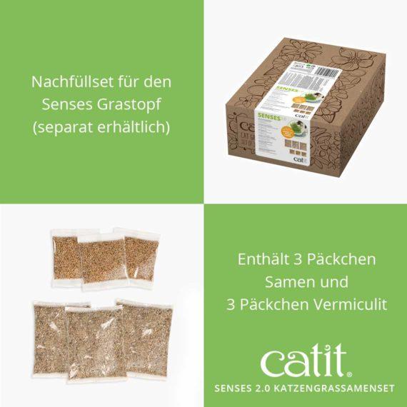Catit Senses 2.0 Katzengrassamenset - Nachfüllset für den Senses Grastopf (separat erhältlich). Enthält 3 Päckchen Samen und 3 Päckchen Vermiculit