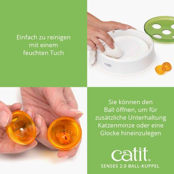 Einfac zu reinigen mit einem feuchten Tuch - Sie können den Ball öffnen, um für zusätliche Unterhaltung Katzenminze oder einde Glocke hineinzulegen