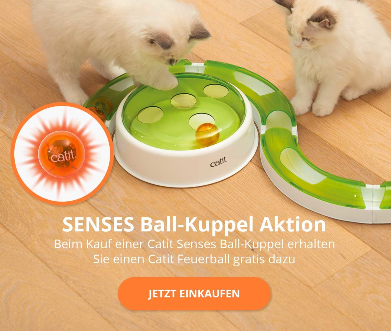 Senses Ball-Kuppel Aktion. Beim Kauf einer Catit Senses Ball-Kuppel erhalten Sie einen Catit Feuerball gratis dazu. Jetzt Einkaufen