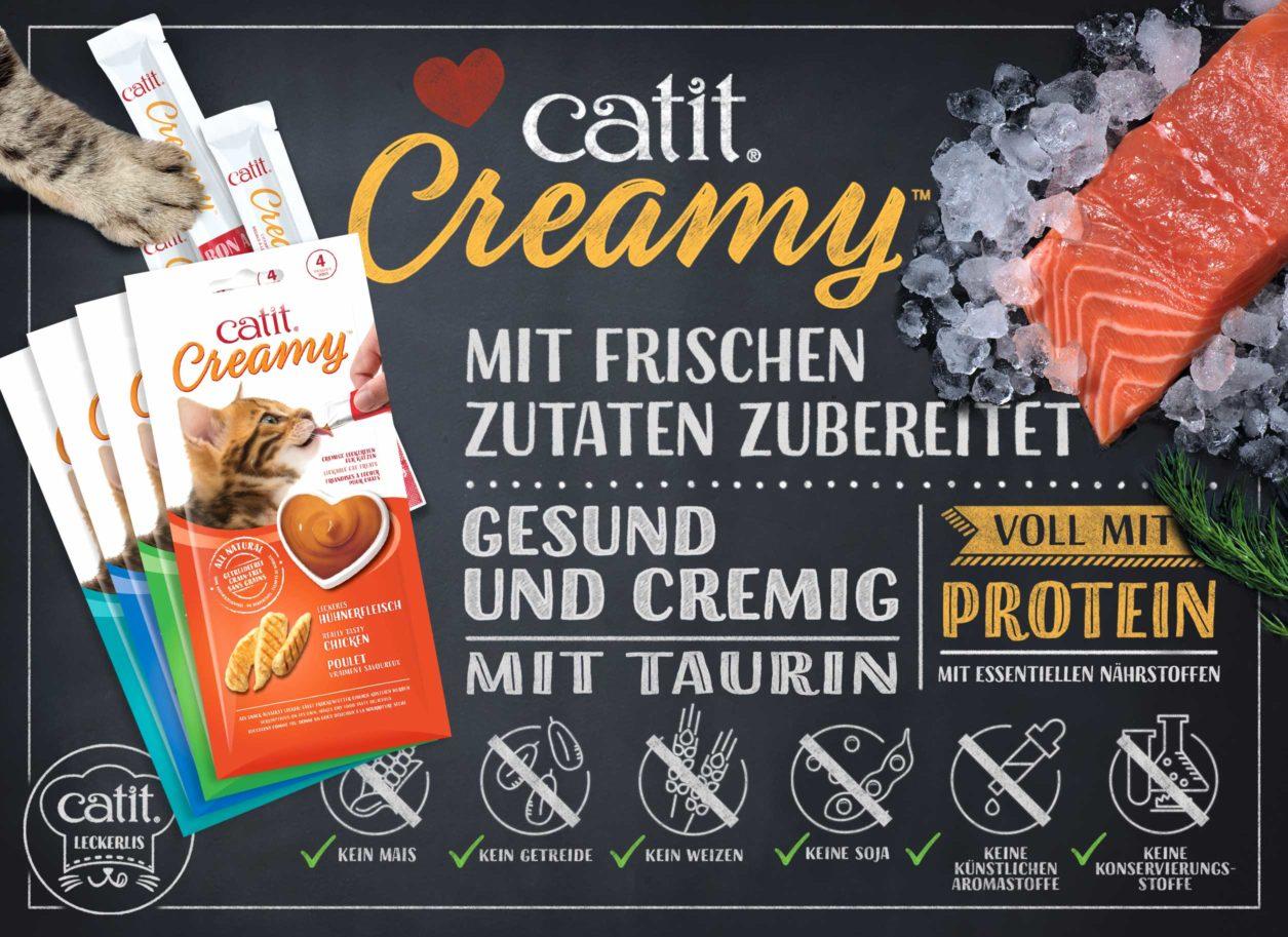 V44451 - Catit Creamy - Mit frischen Zutaten zubereitet - Gesund und cremig - mit Taurin - voll mit Protein - mit essentiellen Nährstoffen