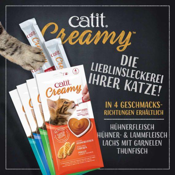 V44451 - Catit Creamy – 4er-Pack - Die Lieblinsleckerei ihrer Katze! In 4 Geschmacksrichtungen erhältlich.