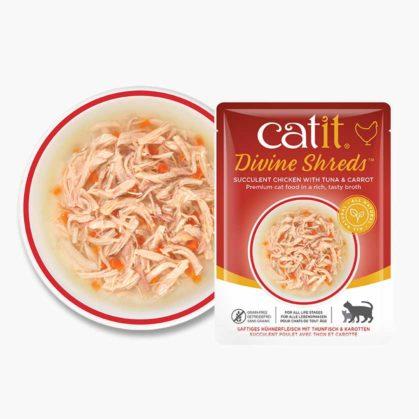 Catit Divine Shreds – Hühnerfleisch - Zusammensetzung - Thunfisch & Karotten