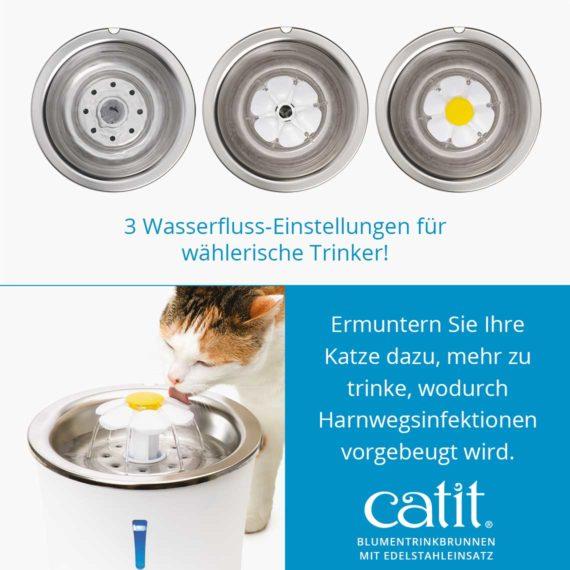 Catit Blumentrinkbrunnen mit Edelstahleinsatz - 3 Wasserfluss-Einstellungen für wählerische Trinker! Ermuntern Sie Ihre Katze dazu, mehr zu trinke, wodurch Harnwegsinfektionen vorgebeugt wird