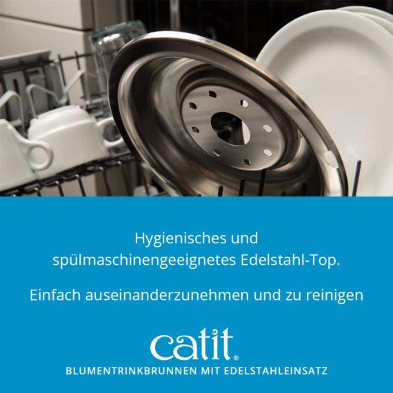 Catit Blumentrinkbrunnen mit Edelstahleinsatz - Hygiensches und spülmaschinengeeignetes Edelstahl-Top. Einfach auseinanderzunehmen und zu reinigen