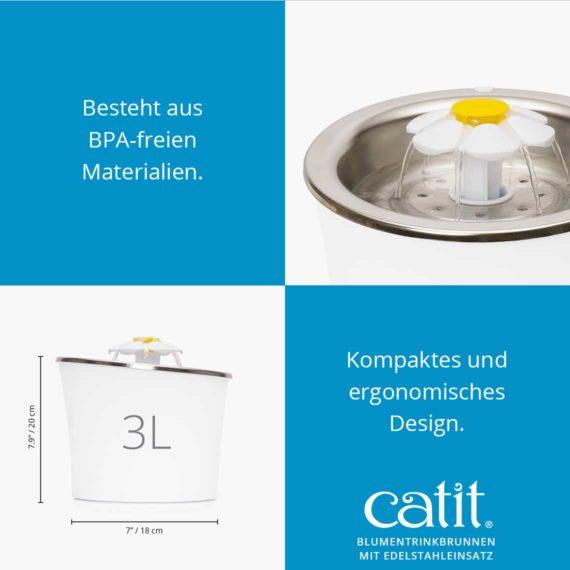 Catit Blumentrinkbrunnen mit Edelstahleinsatz - Besteht aus BPA-freien Materialen. Kompaktes und ergonomisches Design