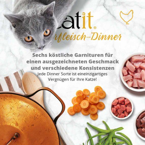 Catit Hühnerfleisch-Dinner - Sechs köstliche Garnituren für einen ausgezeichneten Geschmack und verschiedene Konsistenzen. Jede Dinner Sorte ist eineinzigartiges Vergnügen für Ihre Katze!